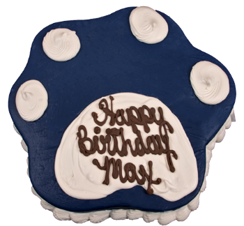 Paw Print Dark Blue Dog Birthday Cake