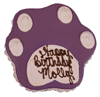 Paw Print Purple Dog Birthday Cake