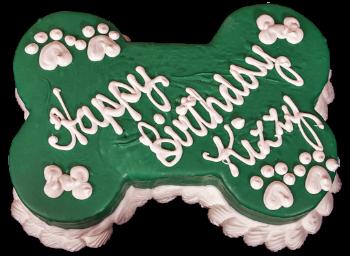 Barkery Dark Green Bone Dog Birthday Cake